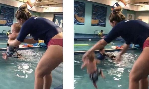 8 μηνών μωρό το πετούν στην πισίνα για να μάθει κολύμπι (vid)   to10.gr