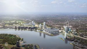 FEYENOORD CITY MASTERPLAN Rendering Aerial View Towards the South %C2%A9OMA 2019 1280x720 1